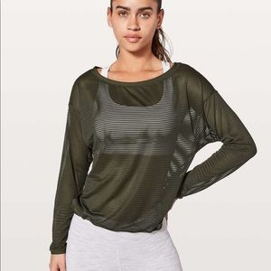 Lululemon Lean In Long Sleeve top-dark olive-NWOT